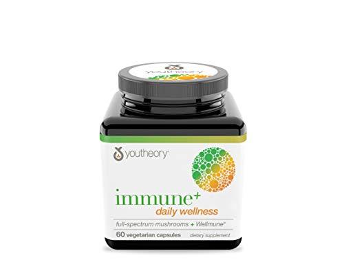 Youtheory Immune+ Daily Wellness - Organic Mushrooms - Beta Glucan - Vitamin C, D3 & Zinc, 60 Vegetarian Caps
