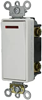Leviton 5638-2W 20-Amp 120-Volt Decora Plus Rocker Pilot Light Illuminated ON Req. Neutral, 3-Way AC Quiet Switch, White