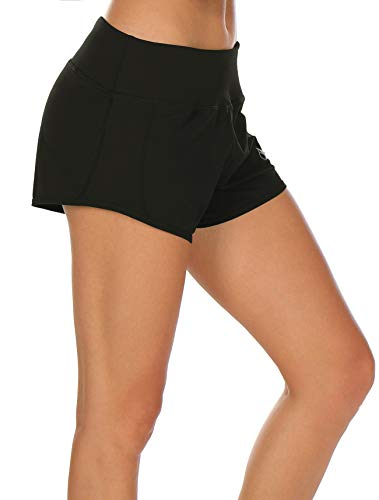 icyzone Athletic Shorts Built-in Brief - Women's Workout Gym Exercise Running Yoga Shorts (XL, Black)
