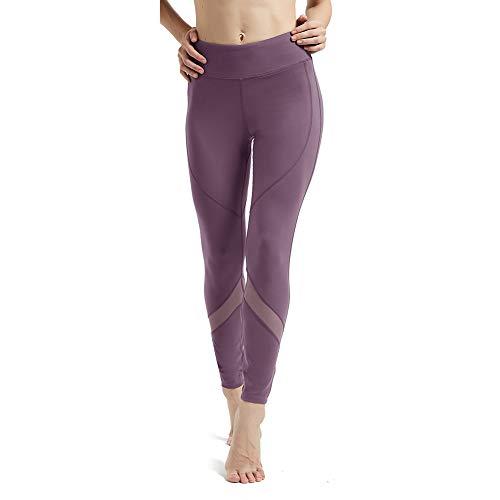 High-Waist Leggings Soft Tummy Control Flex Capri with Pocekts Yoga Pants for Women Mesh Light Weight Seamless Legging XL Lotus Root Starch