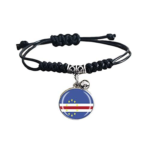 Pulsera trenzada de la bandera de Cabo Verde con cadena de nailon ajustable, pulsera de cristal, pulsera hecha a mano para hombre y mujer