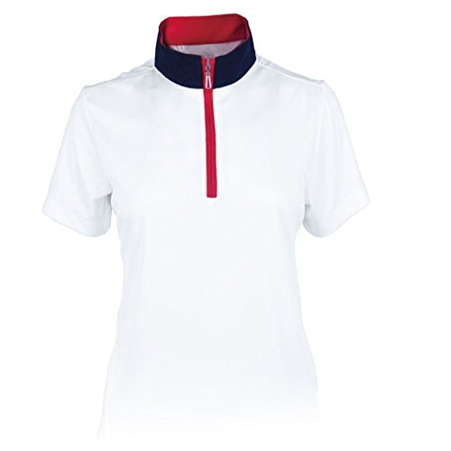 Monterey Club Ladies' Dry Swing Hi-Low Contrast Zipped up Collar #2325 (White/Navy/Red, Large)