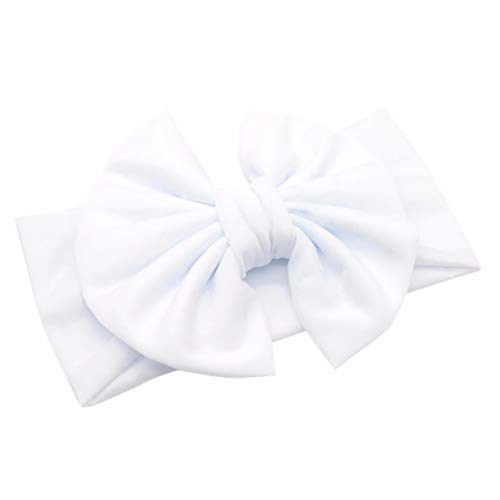 Aiserkly - Diadema elástica para el pelo, diseño de lazo, estilo retro, ligera, para niñas Blanco blanco talla única