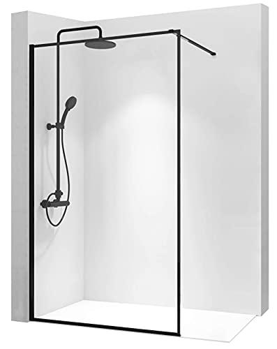 REA Mampara de ducha Walk en cristal de 8 mm, color negro...
