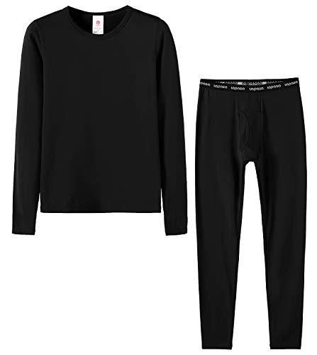 LAPASA Bambino Boy Set Intimo Termico - Ti Tiene al Caldo Senza Stress- T-Shirt Maniche Lunghe & Pantaloni Invernali B03 (XS(Anni 4-5), Nero)
