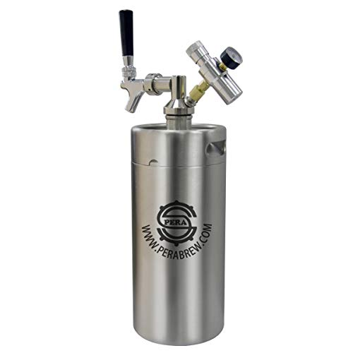 PERA Beer Mini Kegs 128 OZ for Craft beer Dispenser CO2 regulator with beer faucet taps
