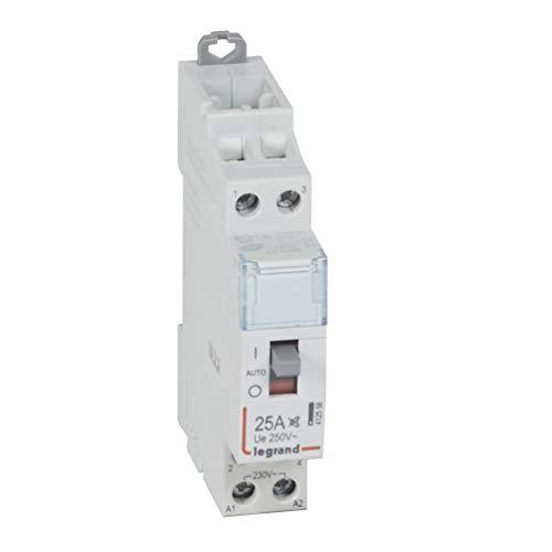 Legrand 412558 Contacteur de puissance CX³ silencieux bobine 230V, 2P, 250V, 25A, contact 2F, 1 module