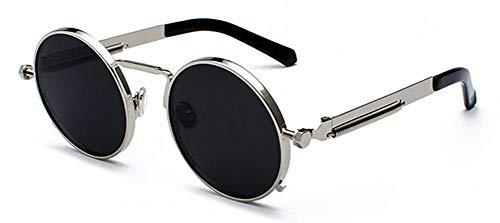 XLTCK Gafas de sol rojas transparentes Gafas de sol circulares con montura de metal Lady UV400