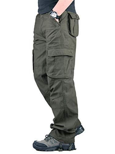 Minetom Pantaloni Uomo da Lavoro Cargo Pantaloni Tattici per Esterni con Pantaloni Multitasche Ad Asciugatura Rapida Verde Militare 3X-Large