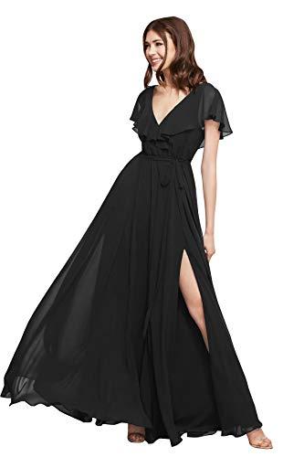 PrettyTatum Plus Size Open Back V Neck Short Sleeves Chiffon Evening Dress...