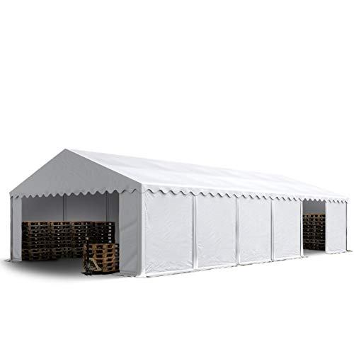 TOOLPORT Tente de Stockage 6x12 m Economy Toile PVC env. 500 g/m² Blanc imperméable Protection Contre Les Rayons UV (80+) Structure Robuste