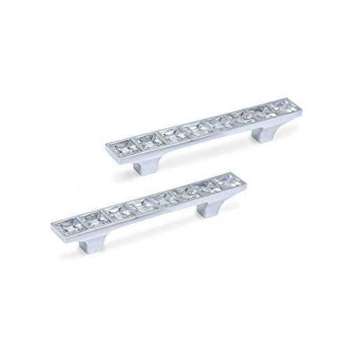 CAMAL Tiradores, 2pcs Forma de Puente Cristal Estilo Europa Rhinestone Aleación de Aluminio Puerta del Mueble Tiradores (64mm,2,52 Pulgadas)