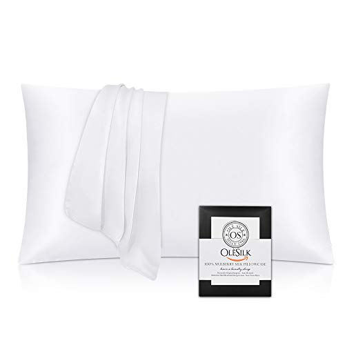 OLESILK 100% Seide Kissenbezug Kissenhülle Haar- und Hautpflege mit Verstcktem Reißverschluss 19 Momme 1 Stück Weiß 40×80cm