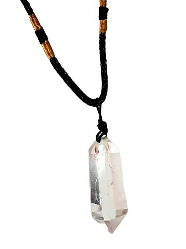 Colgante de cristal de cuarzo con doble terminación de piedras preciosas tibetanas de cuarzo cordón collar Reino Unido