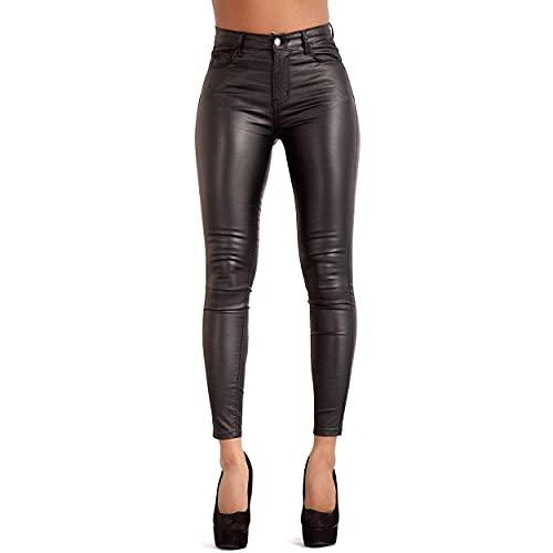 Glook Damen Kunstlederhose Skinny Bikerhose Leder Look Hohe Taille (34, Schwarz)