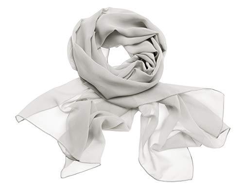 Dresstells Chiffon Schal Stola für Abendkleider in Verschiedenen Farben Silver 180cmX72cm/ Small