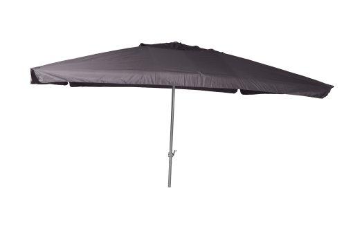 Merxx Sonnenschirm Marktschirm aus Aluminium mit Kurbel und Polyesterbezug in dunkelgrau 300 x 400cm