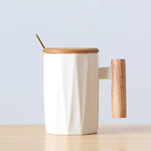 Xiaobing Taza de cerámica de Moda Taza Arte Creativo Taza de Agua Taza de café Caja de Regalo con Mango de Madera -C065-301-400ml