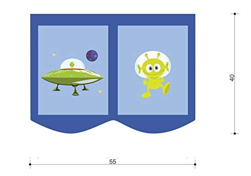 Sac de rangement pour lit d'enfant - Dimensions : 55 x 40 cm - 100 % coton - Rangement pour accessoires de lit superposé - Lit mezzanine - Sac en tissu (bleu clair/bleu foncé, espace)