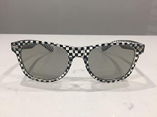 3D glasses black and clear check wayfarer design, with polarised lenses, suitable for cinema and all Passive 3D TVs - Sony, LG, Panasonic, Toshiba