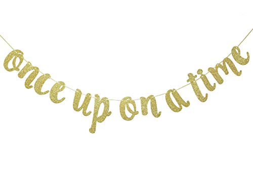 Once Upon A Time Gold Gliter Banner, Fun Engagement, Bachelorette, Birthday, Wedding Bridal Shower Party Decorations (Gold)