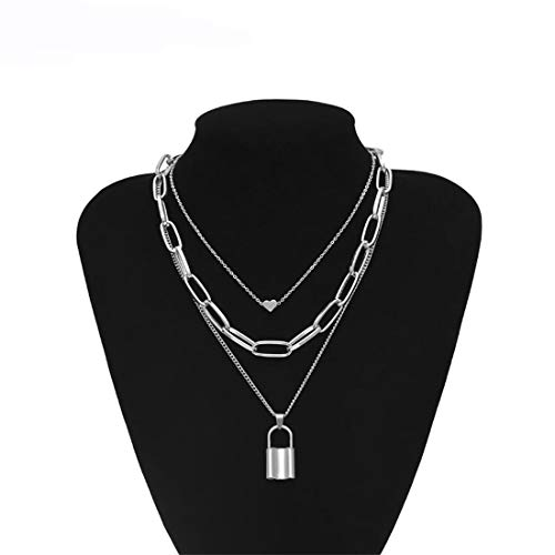 Ivyday Lock Key Pendant Necklace Long Punk Chain Multilayer Chain Jewelry Gift for Women,Silver # 04