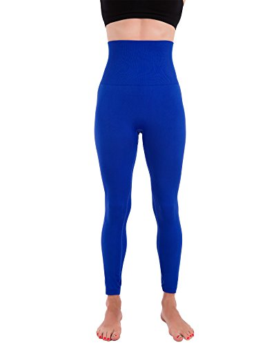 Homma Activewear Thick High Waist Tummy Compression Slimming Body Leggings Pant (Large, Royal)