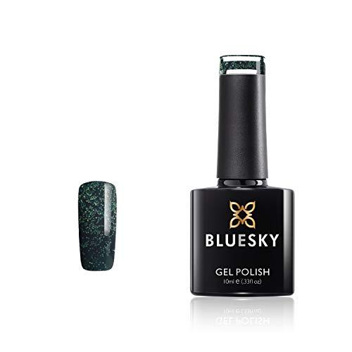 Bluesky Vernis Gel Semi Permanent Cure sous Lampe UV/LED Wise Noir Vert à Paillettes 10 mL