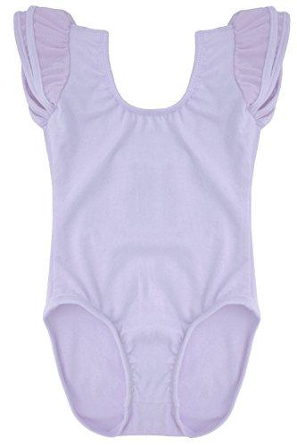 Dancina Ballet Leotard Flutter Sleeve Comfortable Active wear for Dance and Gymnastics 6 Lavender
