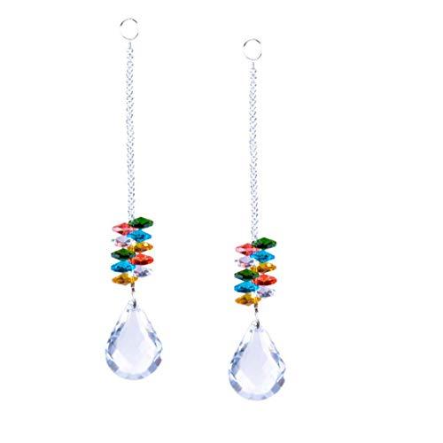 Dulau 2 Piezas Colgantes de Cristal Atrapasol de Cristal Arcoíris, Candelabro con Esferas de Cristal, Lámpara de Araña con Cristal Prisma de Gota para Colgar en Casa, Oficina, Jardín