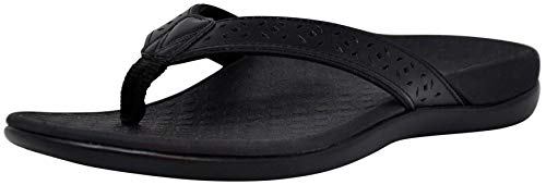 Vionic Women's Tide Perf Toe-Post - Ladies Flip Flops with Concealed Orthotic Arch Support Black 5 Medium US