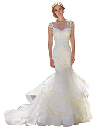 Women's Off The Shoulder Lace Wedding Dress for Bride Mermaid Tired Skirt Bridal Gown Size 4 Ivory