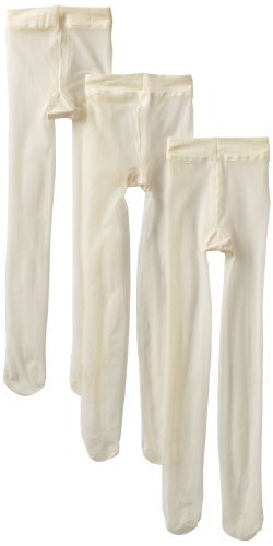 Jefferies Socks Little Girls' Jr Miss Pantyhose Tights (Pack of 3), Ivory, 10-14 Years