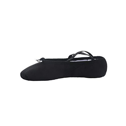 Ballet Dance Shoes Gymnastics Yoga Shoes Split Sole Leather Flats for Girls Ladies Womens Kid's and Adult's Black, Adult UK4/EU37/23.5cm/9.25Inch