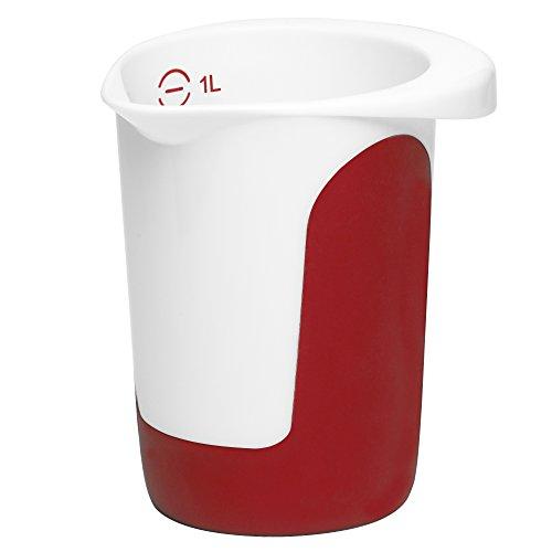 Emsa 508014 Quirltopf, 1 Liter, Abriebfeste Skala, Weiß/Rot, Mix & Bake