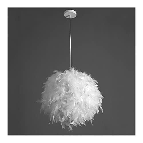 BOLE Interior Lámpara de Plumas Real esférica, luz y Hermosa. Hermosa luz Colgante para el Dormitorio, la Sala de Estar, los niños y Las niñas, romántico Bricolaje (Color : White, tamaño : Warm)