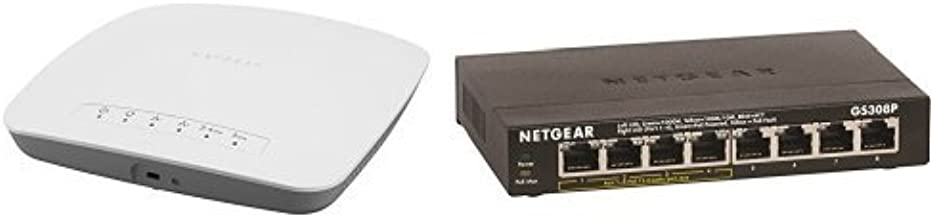 NETGEAR AC WiFi Business Access Point with NETGEAR Insight app for easy management (WAC510-100NAS) Bundle with NETGEAR 8-Port Gigabit Ethernet Switch with 4-Port PoE (GS308P-100NAS)