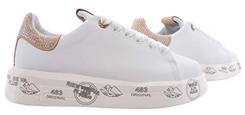PREMIATA Sneakers Donna Belle 4540 Pelle Bianca Beige Studs