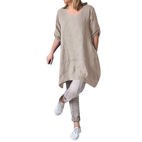 Sannysis Damen Leinenkleid V-Ausschnitt Casual Kleid Boho Lange Bluse Sommerkleider Lose Beiläufige Tunika Hippie Freizeitkleider Tshirt-Kleid Minikleid (XXL, Beige)