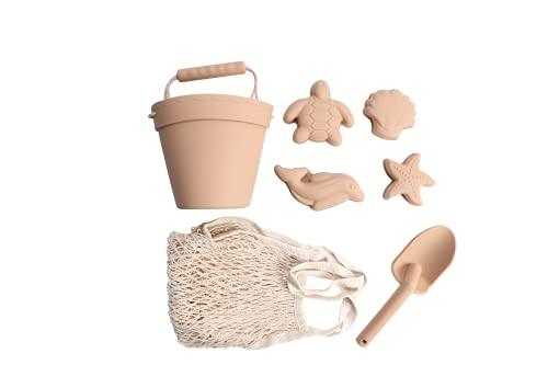 BraveJusticeKidsCo. | Silicone Summer Kids Beach Set | Toddlers and Baby Sandbox Toys (Warm Sand) + Beach Bag