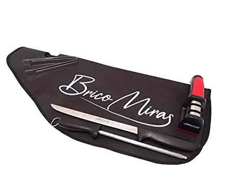 Set cuchillos arcos profesional, pack Arcos compuesto por cuchillo y chaira ARCOS + afilador ARCOS + pinza FC + cubre jamón Bricomiras, set de corte ARCOS uso profesional y doméstico(set4)