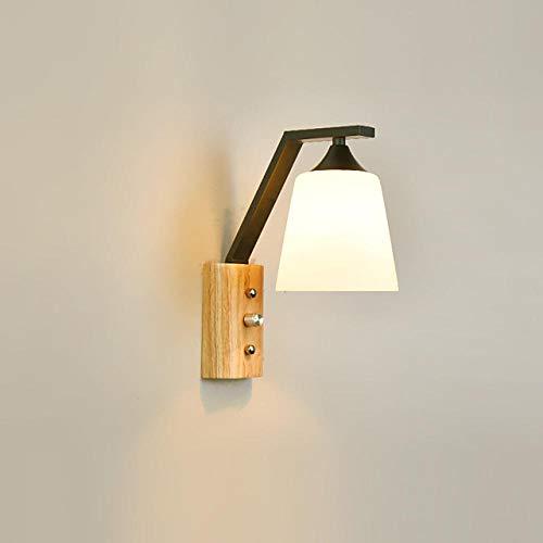 Aplique de madera con pantalla de cristal e interruptor on/off para salón/dormitorio regulable-110-120 V_Negro