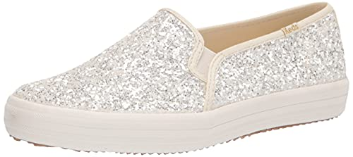 Keds Women's Kate Spade Double Decker Glitter Sneaker, Cream, 8.5