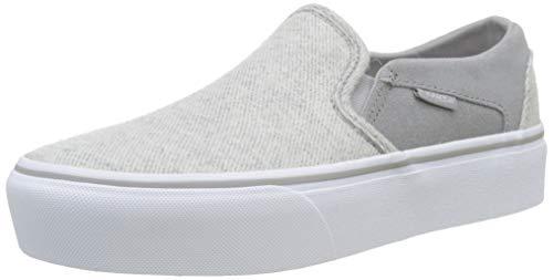 Vans Damen Asher Platform Slip On Sneaker, Grau ((Lurex/Textile) Drizzle/True White Xo1), 38 EU