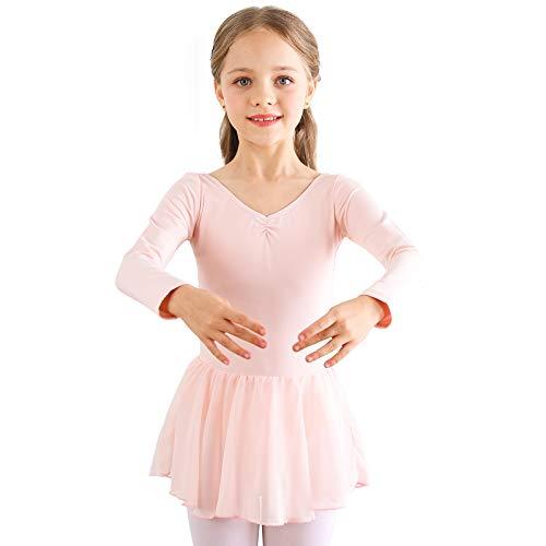 Bezioner Vestido de Ballet Maillot de Danza Gimnasia Leotardo Algodón Body Clásico para Niña (120 (110-120cm,6-7 años), Rosa Manga Larga)