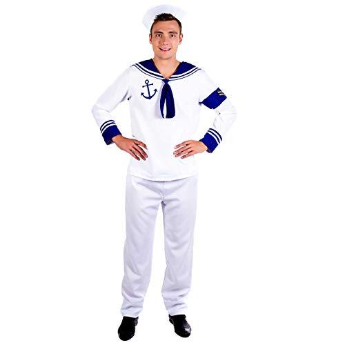 Fun Shack Weißes Seemann Kostüm für Herren, Matrosen Verkleidung - M