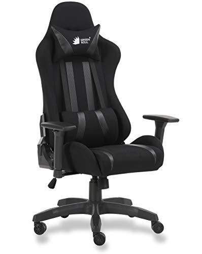 Green Soul Beast Series Fabric and PU Leather Multi-Functional Ergonomic Gaming Chair GS-600 (Full Black, Medium)