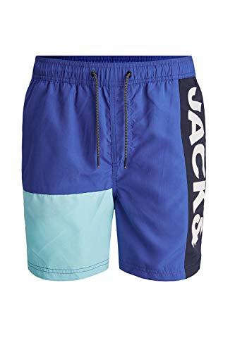 Jack & Jones JJIBALI JJSWIMSHORTS AKM Logo Colorblock Pantalones Cortos, Surf The Web, S para Hombre