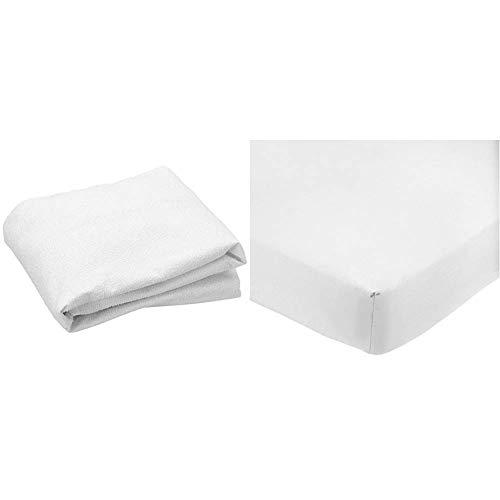Cándido Penalba Super Protector de colchón, Rizo Impermeable, 90 x 190/200 cm, Blanco + Amazon Basics Sábana Bajera Ajustable (polialgodón 200 Hilos) Blanco - 90 x 200 x 30 cm