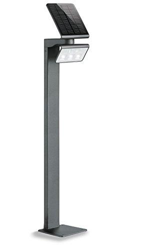 Steinel LED Gartenleuchte XSolar GL-S anthrazit, höhenverstellbar, 140° Bewegungsmelder, 5 m Reichweite, Grundlicht